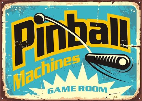 Pinball machines game room retro sign advertisement
