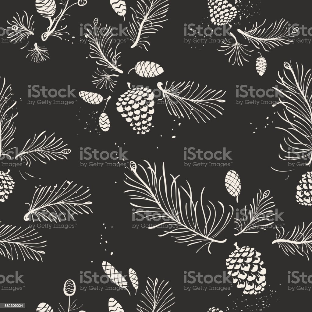 Pine and Cones Christmas Pattern
