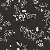 Seamless Christmas pattern with hand-drawn needles twigs - pine, spruce and cones.