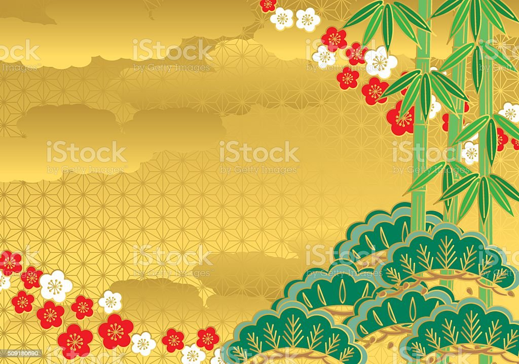 Pine. bamboo. plum vector art illustration