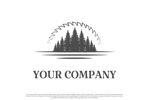 Pine Cedar Conifer Evergreen Larch Cypress Spruce Fir Tree Forest with Sunset Sunrise Circular Blade for Timber Log Logo Design Vector