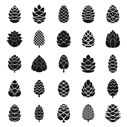 Pine cone icons set, simple style