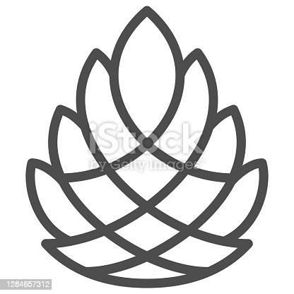 istock Pine cone line icon, New Year concept, Pinecone sign on white background, Cedar cone icon in outline style for mobile concept and web design. Vector graphics. 1284657312