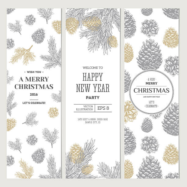 bildbanksillustrationer, clip art samt tecknat material och ikoner med pine cones banner collection. christmas banners. vector illustration - gran