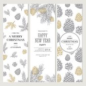 Pine cones banner collection. Christmas banners. Vector illustration