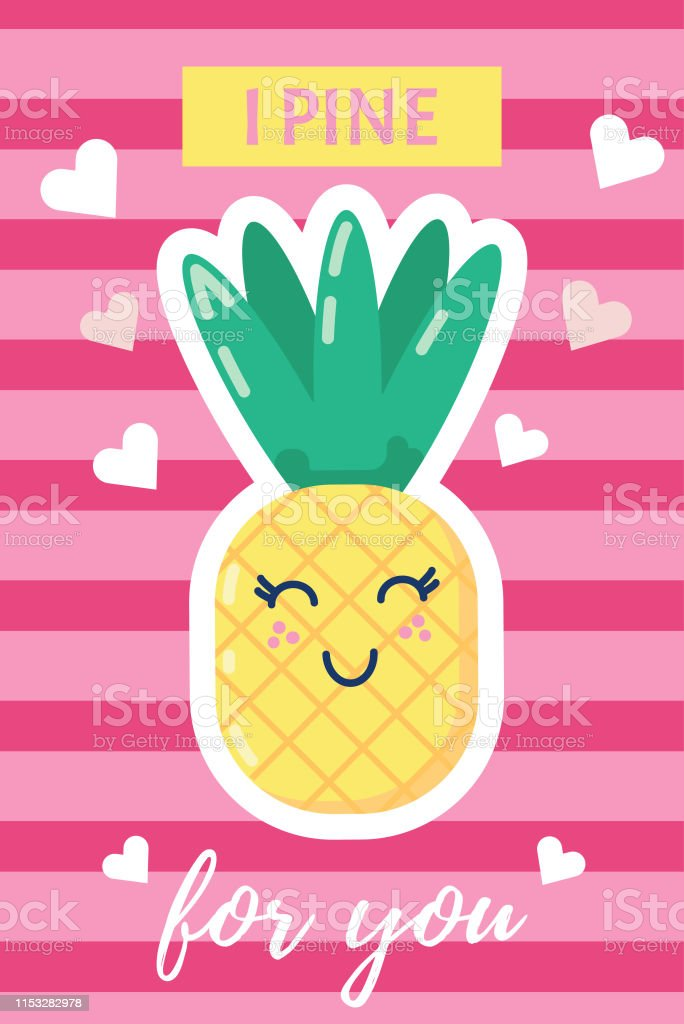 I Pine for You Valentines Day Card Punny Card Pineapple Valentine Card