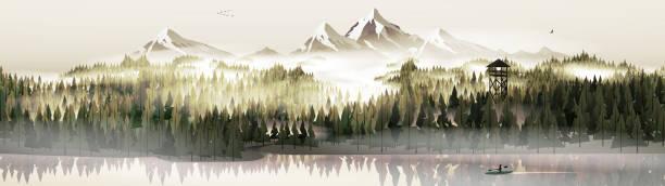 stockillustraties, clipart, cartoons en iconen met dennenbos en meer met stag panorama - wildplassen