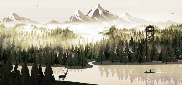 Pine forest and lake with stag Pine forest and lake with stag mountains in mist stock illustrations