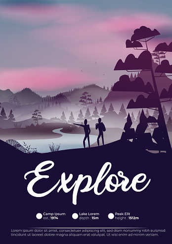 Pine forest mountains at night exploration adventure flyer