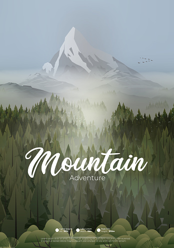 Pine forest mountains in mist poster
