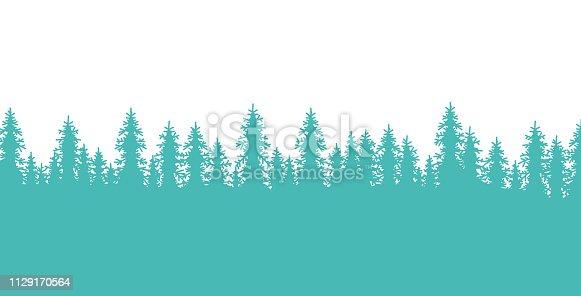 Pine tree forest lined border element design.
