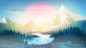 Pine Forest with Mountain Lake at Sunrise or Sunset - Vector Illustration