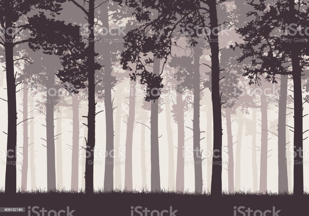 Pine forest with tree trunks and branches in retro colors - vector vector art illustration