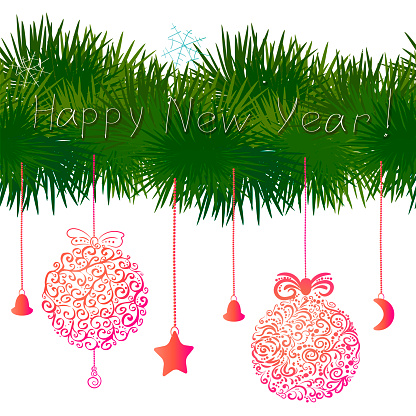 Pine New Year's branches with elegant toys and snowflakes. Decoration element for the new year 2022.