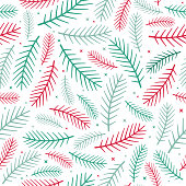 Seamless pine tree winter background.