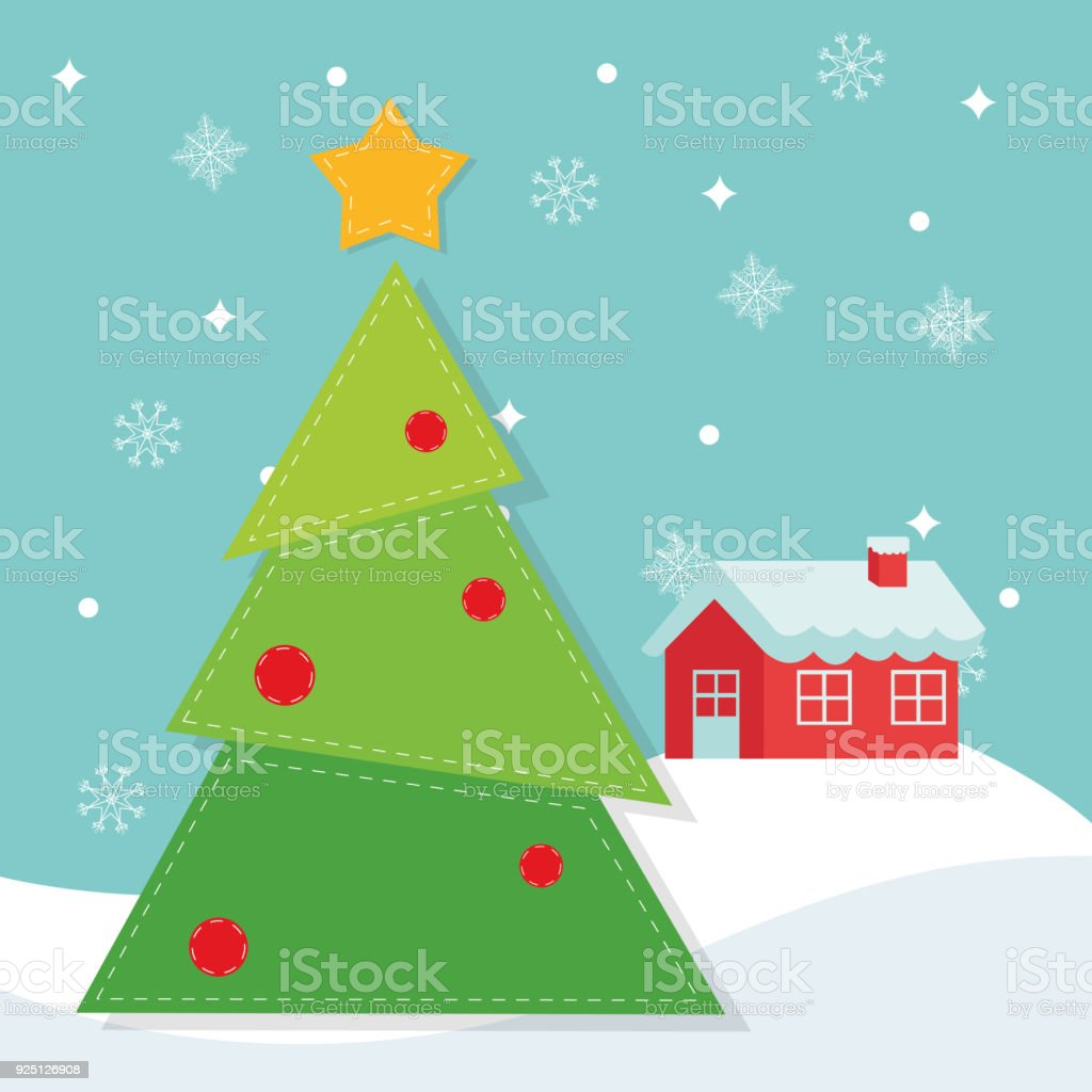 Pine tree and house of Christmas season design vector art illustration