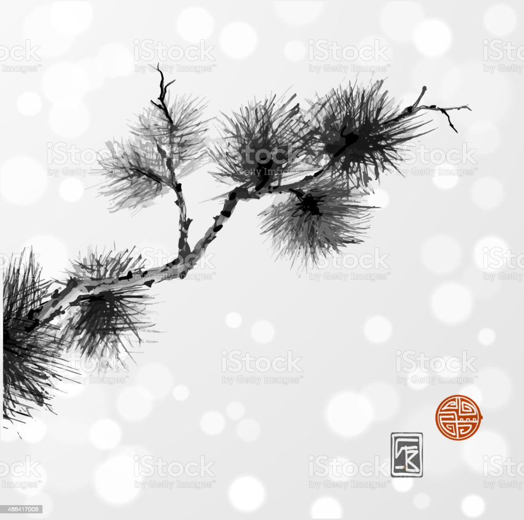 Pine tree branch hand-drawn with ink vector art illustration
