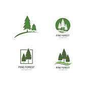 Set of Pine tree logo ilustration vector design