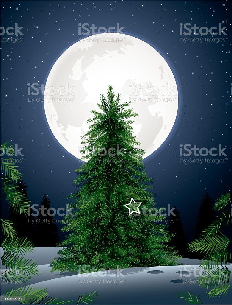 Pine Tree in the Moonlight royalty-free stock vector art