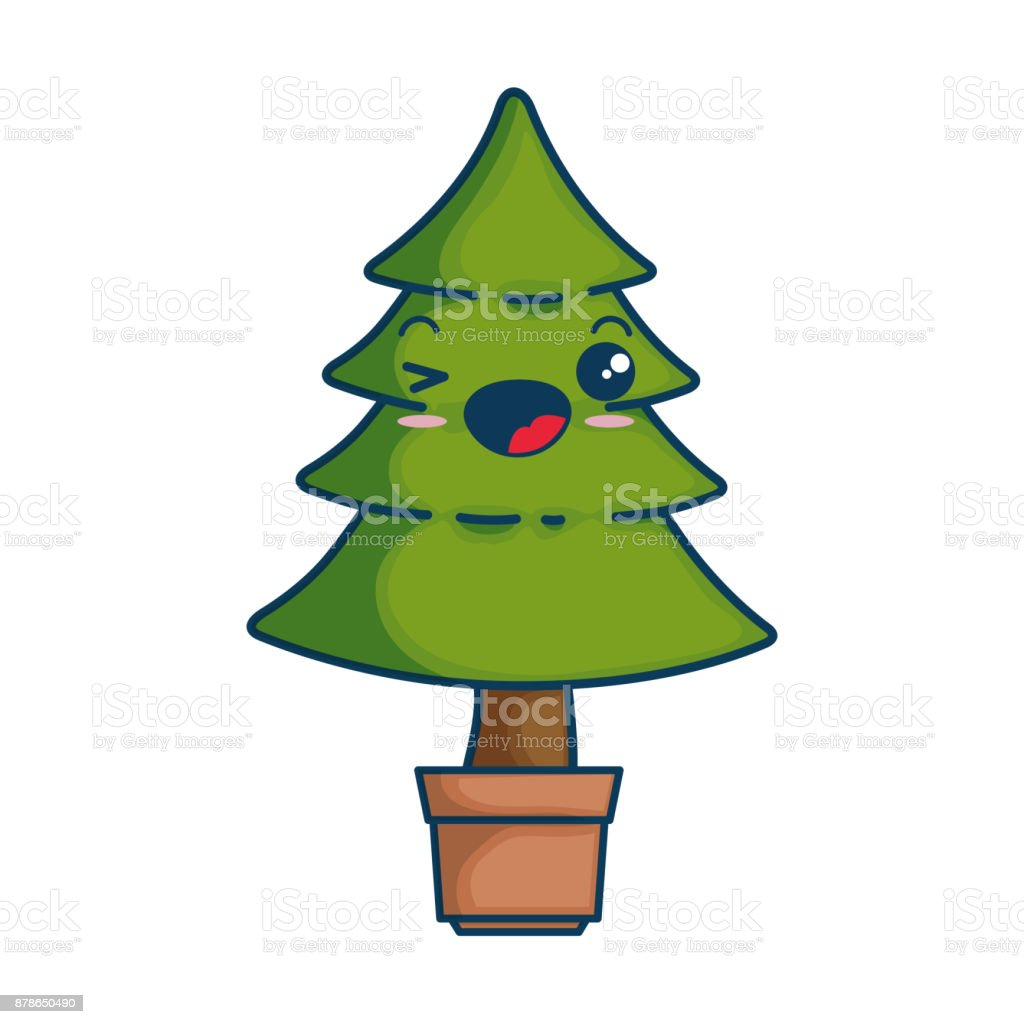 Pine Tree Kawaii Character Stock Vector Art & More Images of Cartoon ...