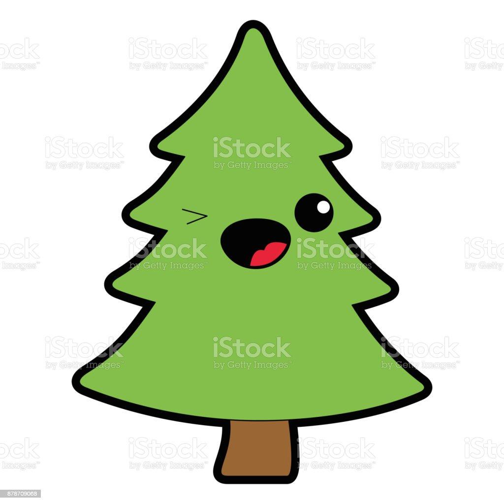 Arbol de navidad para colorear kawaii