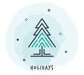 Line Style Vector Illustration for Holidays.