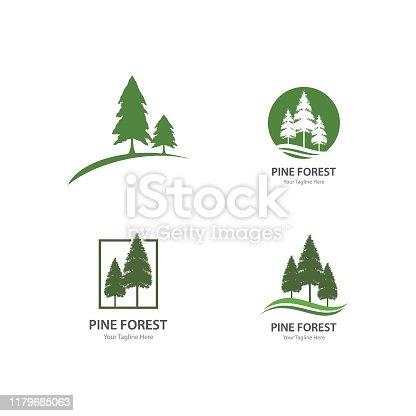 Set of Pine tree logo ilustration vector design