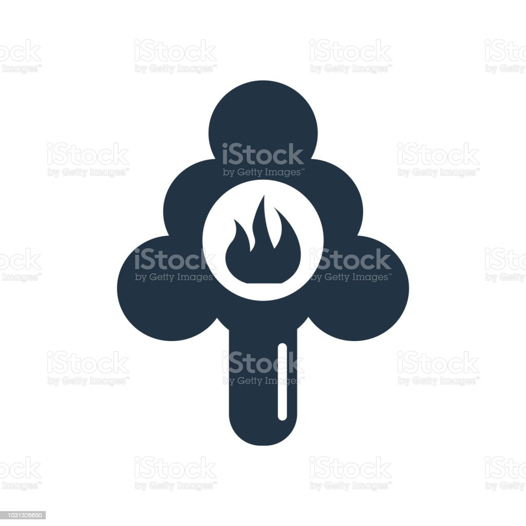Pine tree on fire icon vector isolated on white background, Pine tree...