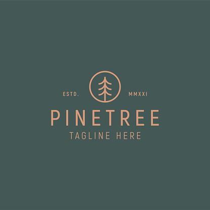 Pine Tree Simple Line Logo Vector Template.