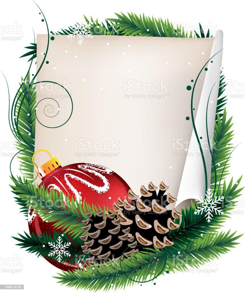 Kiefer Kranz Mit Christmas Ball Und Blatt Papier Vektor Illustration ...