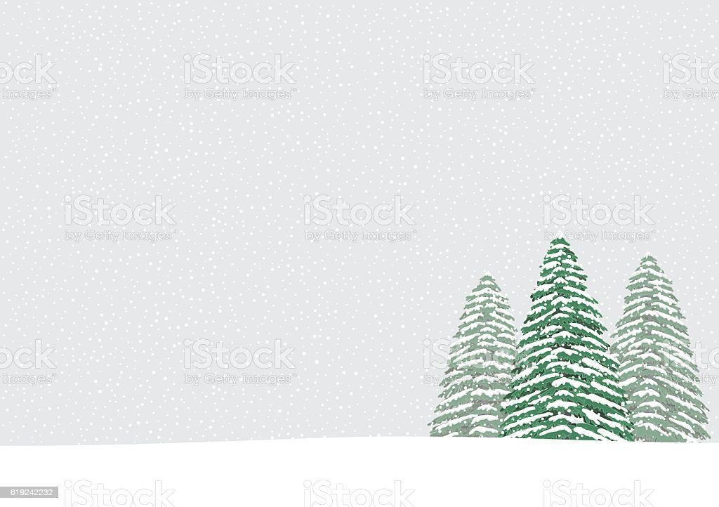 Pine trees and snow. winter. vector art illustration