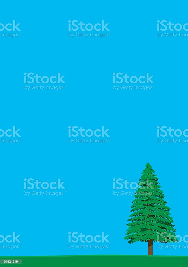Pine trees and the sky. summer. vector art illustration