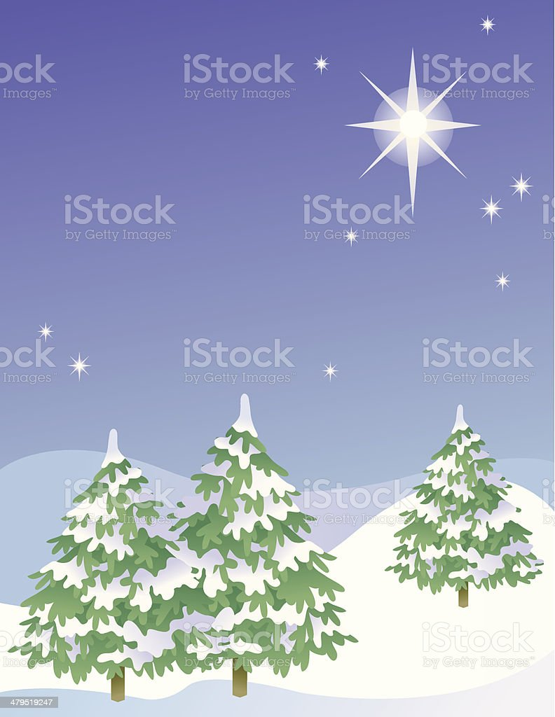 Pine trees in the snow royalty-free stock vector art