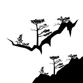 pine trees on mountain cliff black vector silhouette