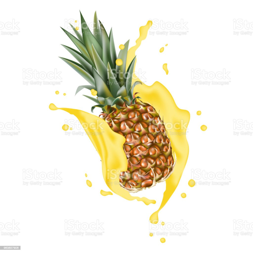 Pineapple 3d vector with realistic splash design elements. Packaging splashing falling ananas for juice, coffee, milk, water, cocktail, chocolate. - Royalty-free Advertisement stock vector