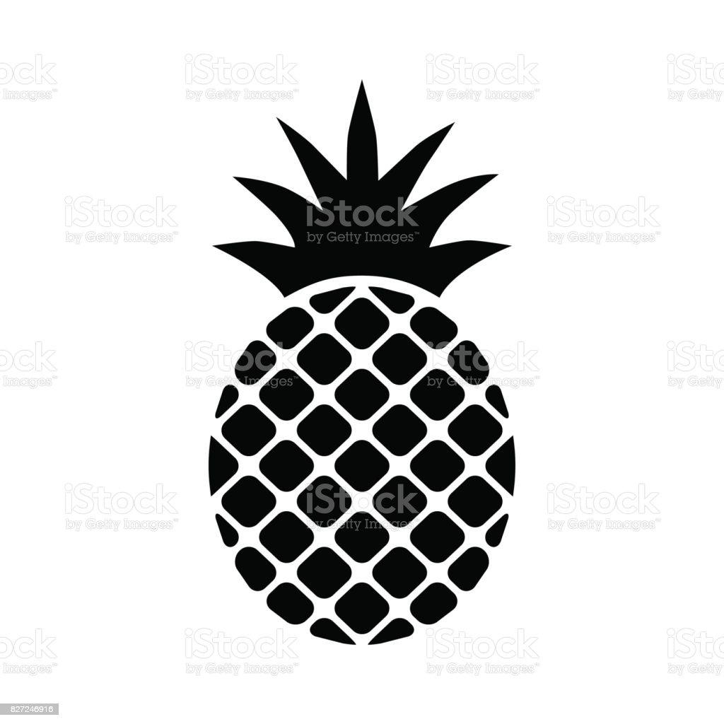 Ananas Ananas Symbol Schwarz Auf Weißem Hintergrund Stock Vektor Art ...