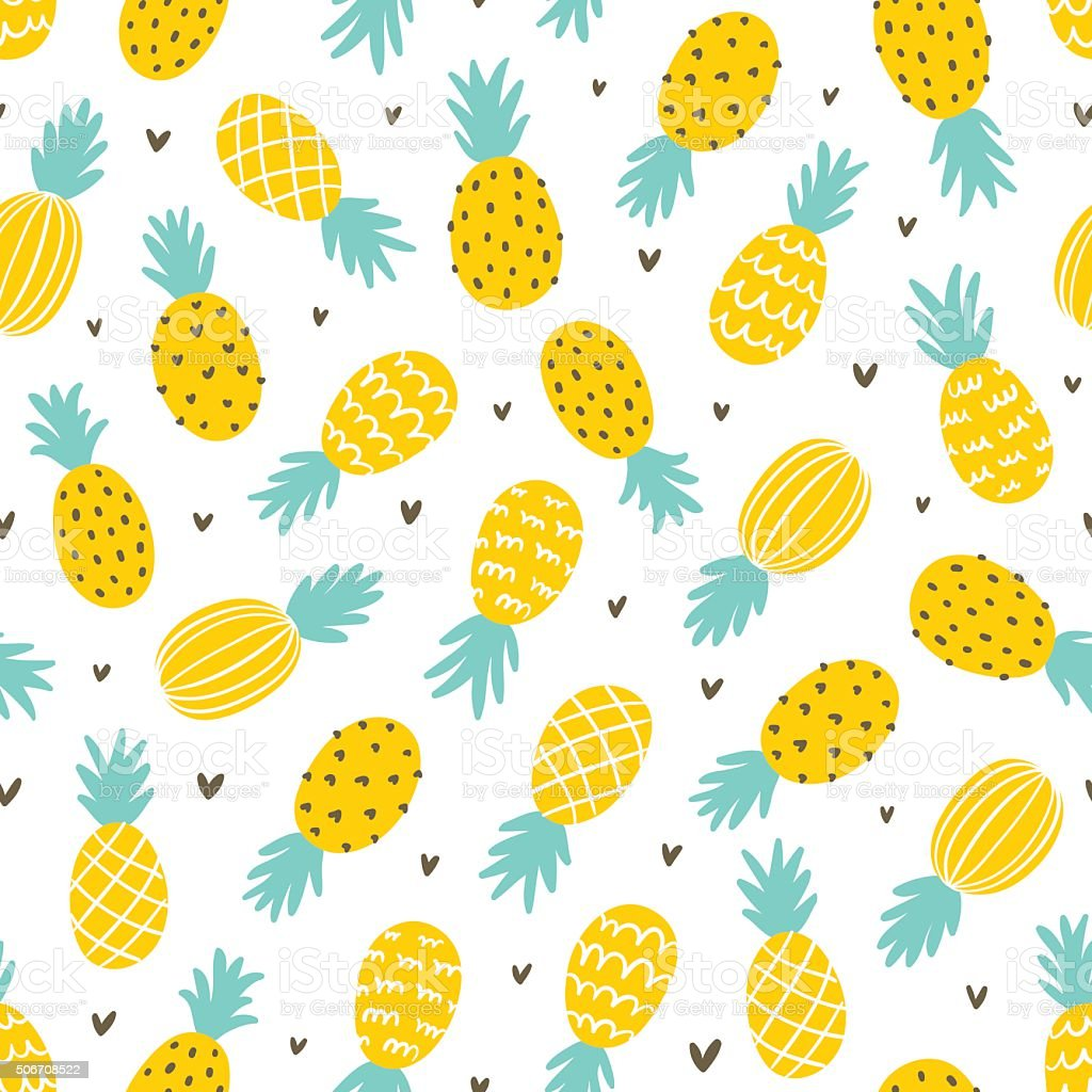 Pineapple and hearts seamless pattern vector art illustration