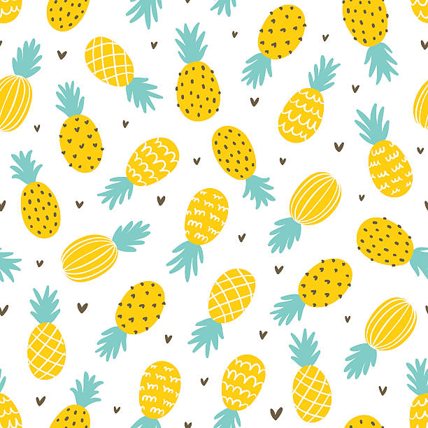 Ananas i gładki wzór w serca – artystyczna grafika wektorowa