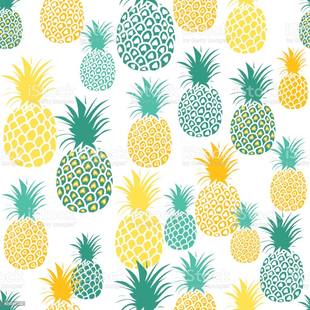 Pineapple Background Cute Pineapples Seamless Pattern ...