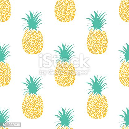 Pineapple Background Cute Pineapples Seamless Pattern Summer Tropical All Over Print Stock Vector Art More Images Of Arts Culture And Entertainment