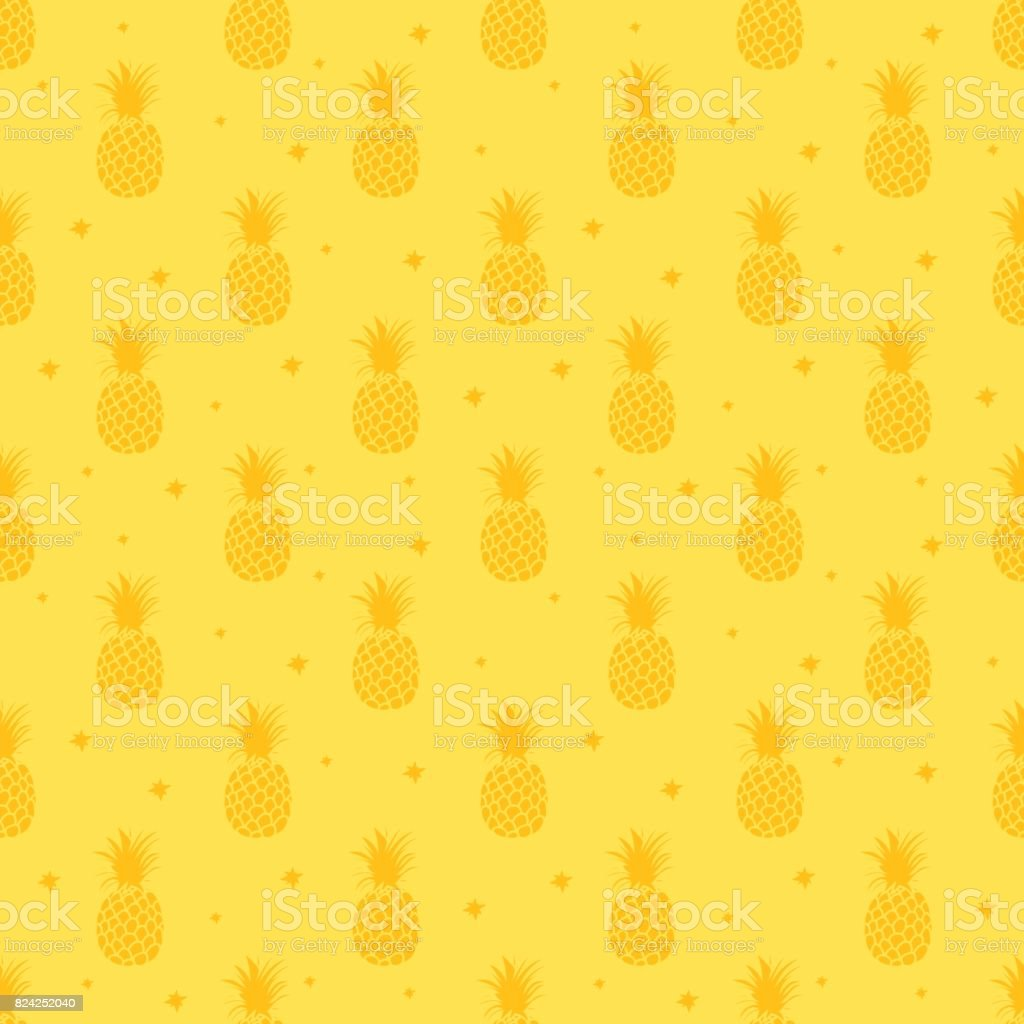 Pineapple background. Cute pineapples seamless pattern. Summer tropical all over print. vector art illustration