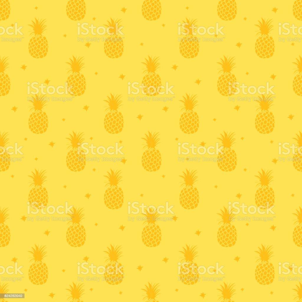 パイナップルの背景。かわいいパイナップルのシームレスなパターン。夏は熱帯印刷中。 ベクターアートイラスト