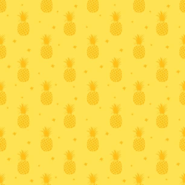 Pineapple background. Cute pineapples seamless pattern. Summer tropical all over print. – artystyczna grafika wektorowa