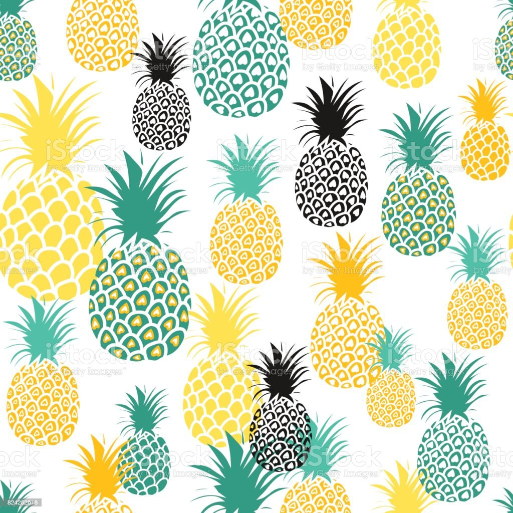Pineapple Background Cute Pineapples Seamless Pattern Summer Tropical All Over Print Royalty