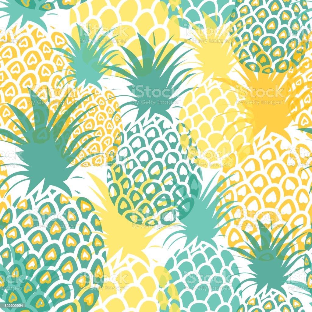 Ananas-Hintergrund. Süße Ananas Musterdesign. Auf Druck der ganzen tropischen Sommer. – Vektorgrafik