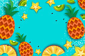 Pineapple seamless pattern. Ananas in paper cut style. Origami Healthy food on blue. Summertime. Vector