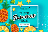 Pineapple, carambola, kiwi. Ananas and starfruit. Summer in paper cut style. Origami juicy ripe slices. Healthy fresh food on blue. Summertime. Vector
