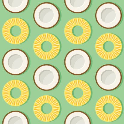 Pineapple Coconut Seamless Pattern