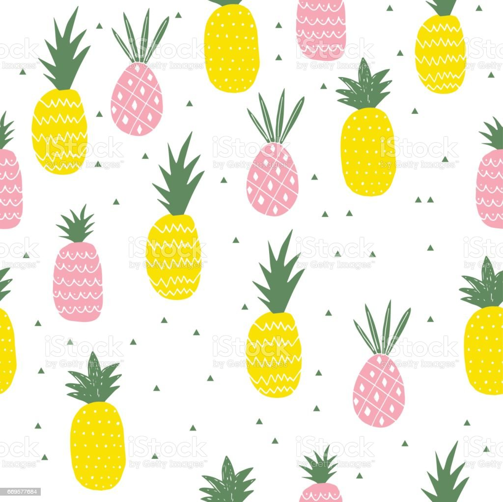 Pineapple Colorful Pattern Cute Background Royalty Free Stock