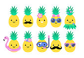 Pineapple cute characters set for summer tropical stickers; patches and pins design. Vector illustration